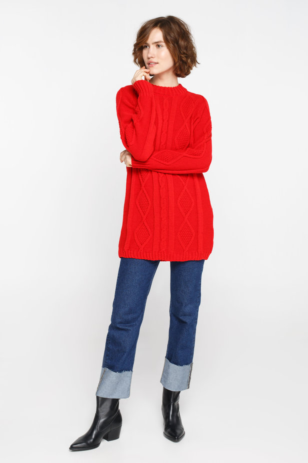 Long red sweater with braids photo 2 - MustHave online store