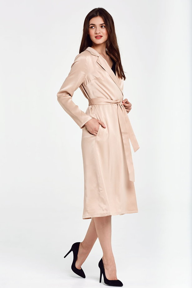 Below the knee wrap beige trenchcoat with a belt photo 7 - MustHave online store