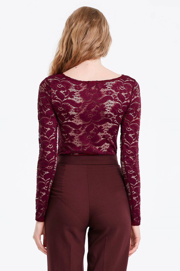 Burgundy lace bodysuit photo 2 - MustHave online store