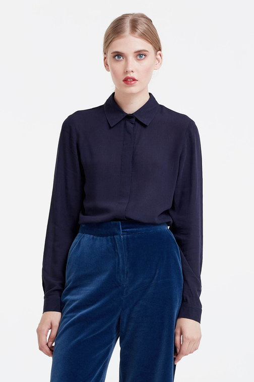 Dark blue blouse with a concealed placket
