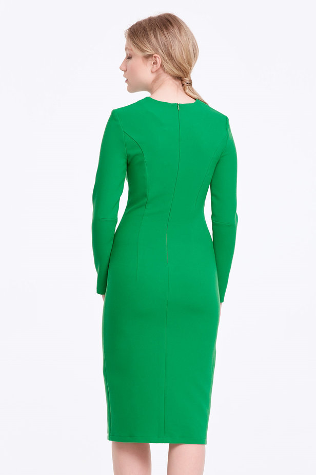 Column green dress with a slit photo 4 - MustHave online store