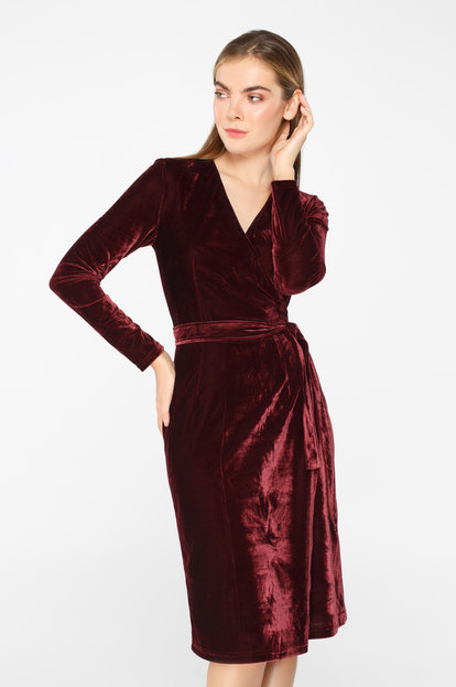 Burgundy velvet wrap dress below the knee