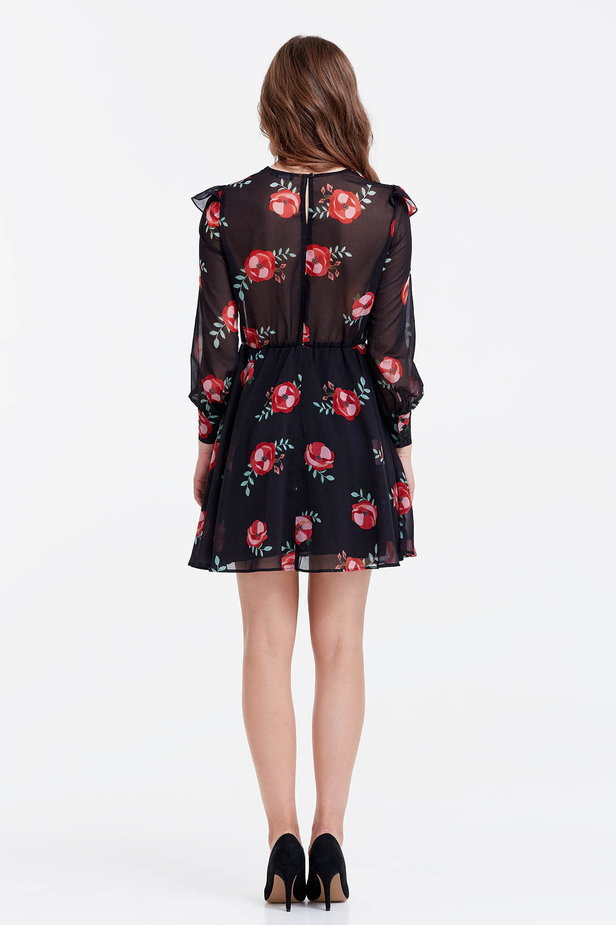 Mini black dress with a floral print and ruffles photo 3 - MustHave online store