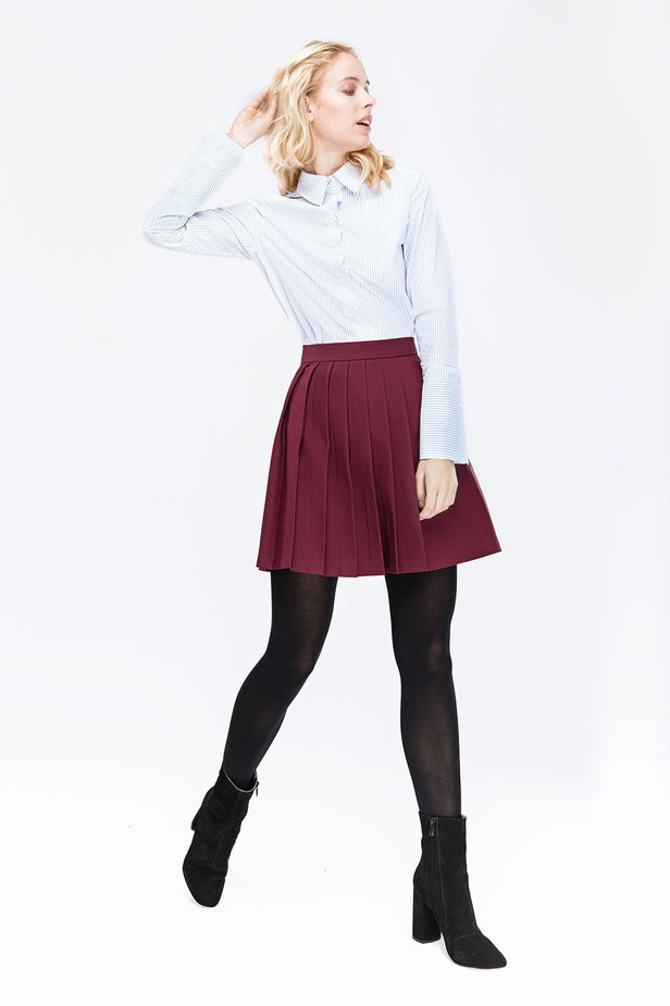 Plum skirt with pleats photo 3 - MustHave online store