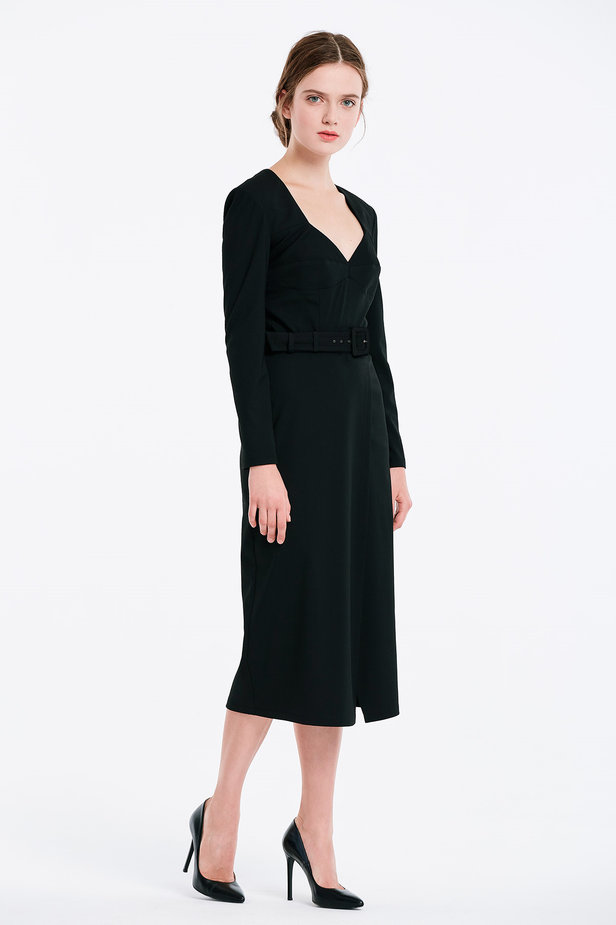 Wrap column black dress photo 3 - MustHave online store