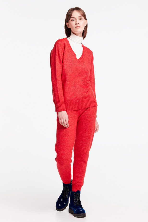 Red knit pants photo 2 - MustHave online store