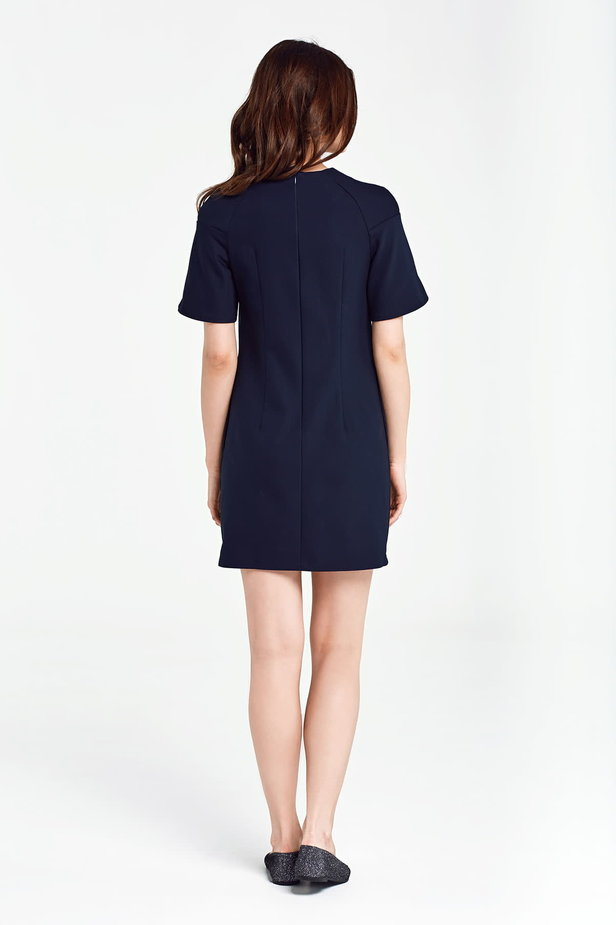 Dark blue dress with flared sleeves above the knee photo 5 - MustHave online store