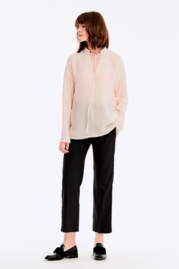 Beige blouse with ties photo 3 - MustHave online store