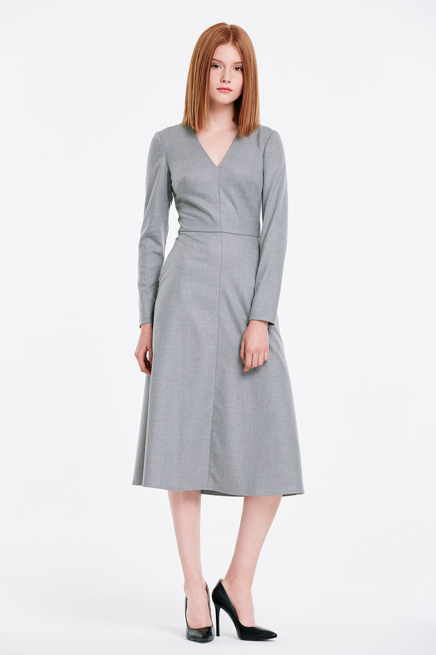 V-neck grey dress photo 4 - MustHave online store