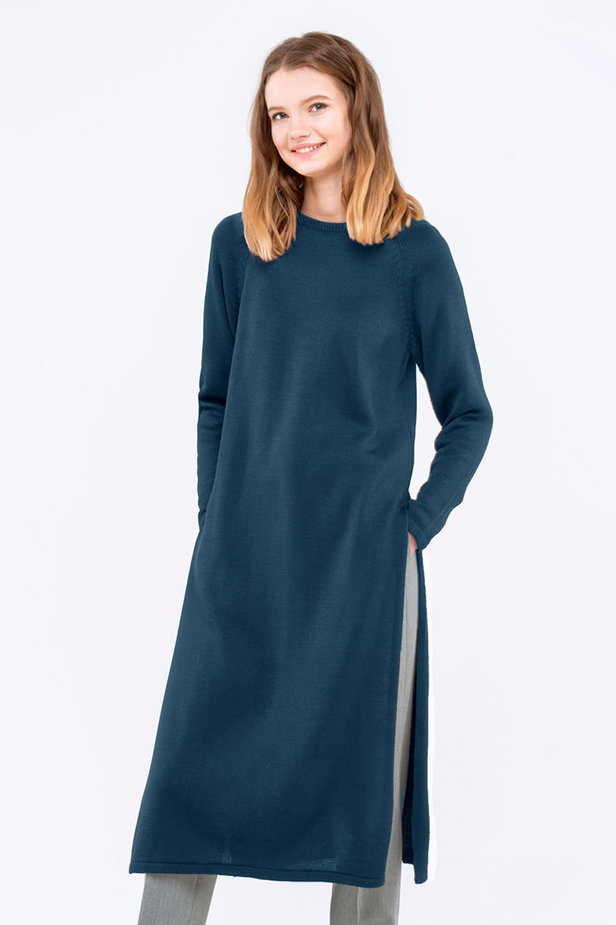 Blue tunic with slits photo 1 - MustHave online store