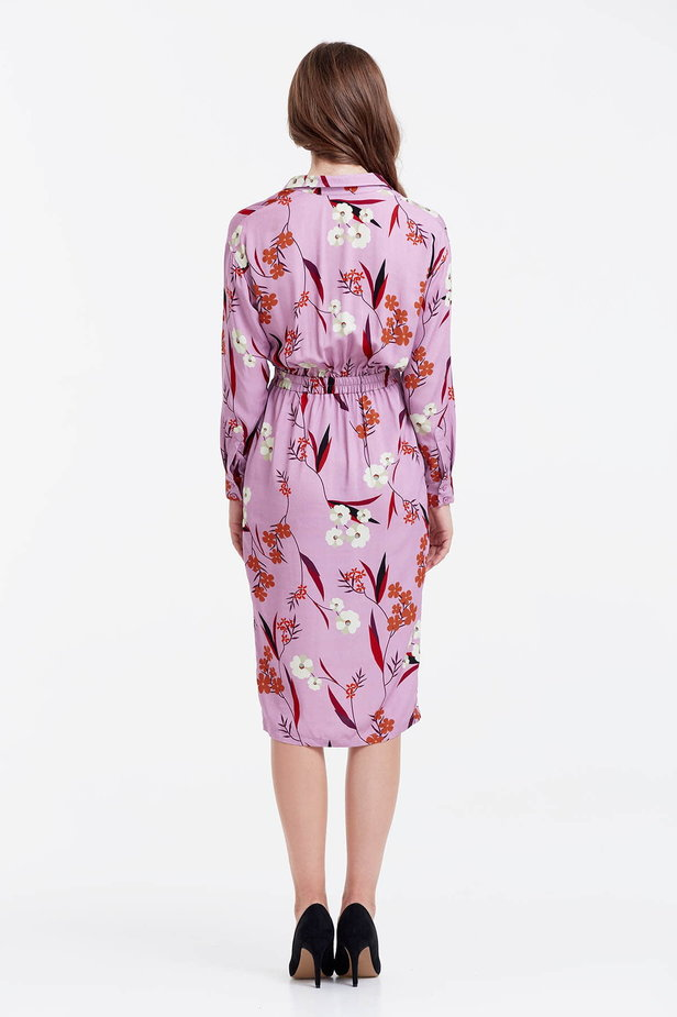 Wrap lilac dress with a floral print photo 3 - MustHave online store