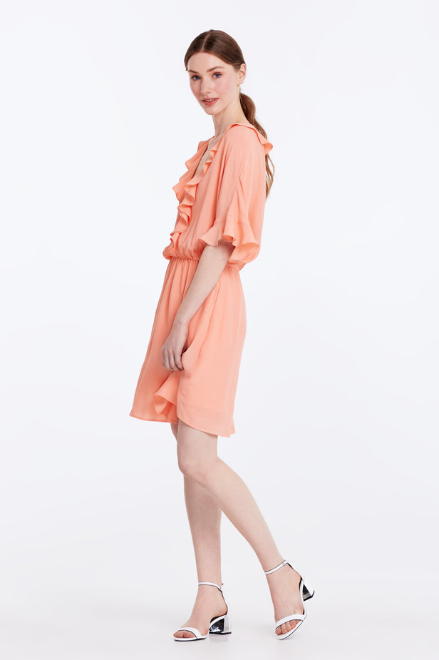 Peach-colored dress with ruffles photo 3 - MustHave online store