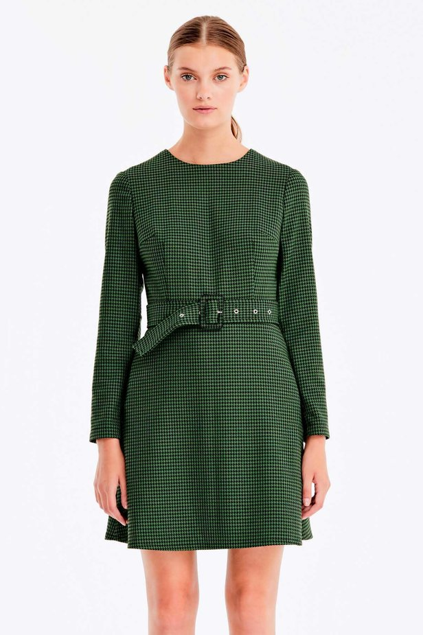 Green dress with a houndstooth print photo 1 - MustHave online store