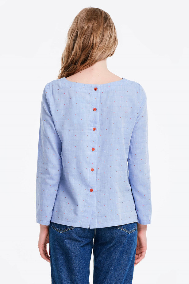 Blue shirt with an orange polka dot print photo 2 - MustHave online store