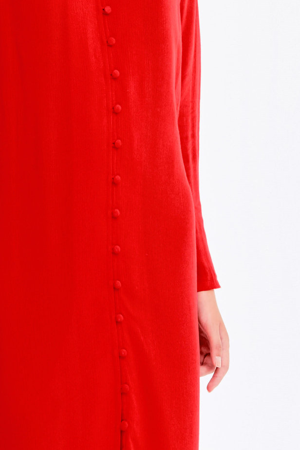 Red dress with ruffles and buttons photo 2 - MustHave online store
