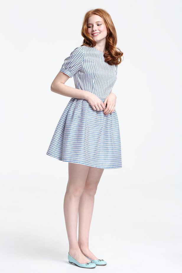 Mini dress with white and blue stripes photo 5 - MustHave online store