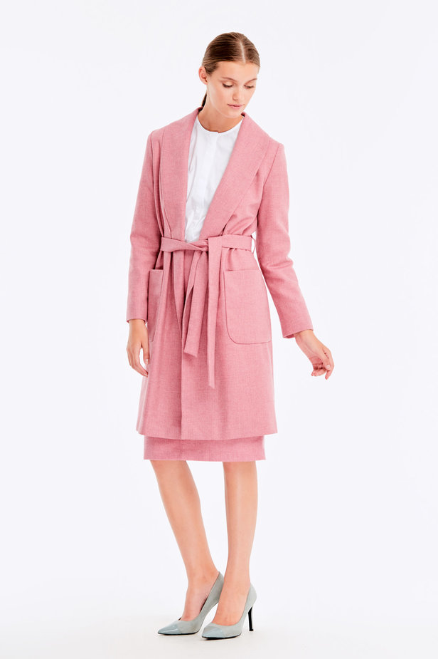 Long pink jacket with herringbone print photo 4 - MustHave online store