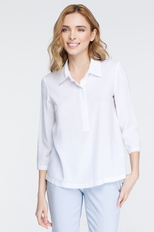 Summer white shirt with placket