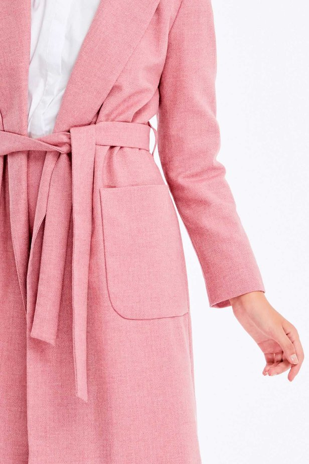 Long pink jacket with herringbone print photo 3 - MustHave online store