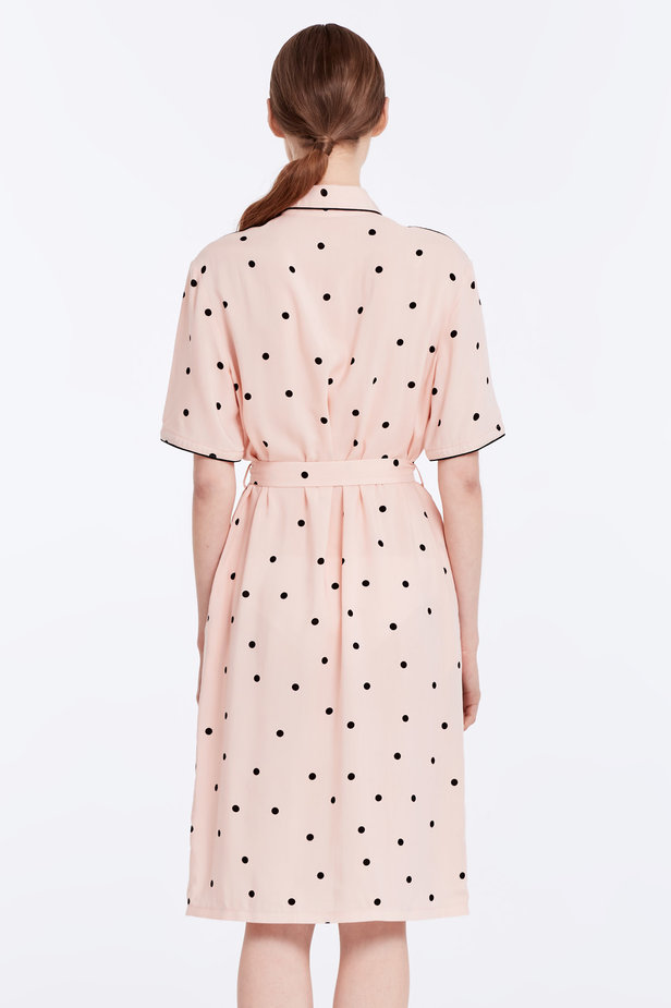 Beige dress with a black polka dot print and a black piping photo 6 - MustHave online store