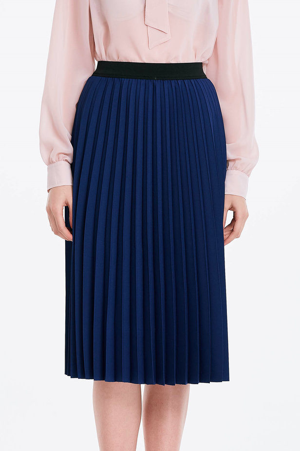 Below the knee pleated blue skirt photo 1 - MustHave online store
