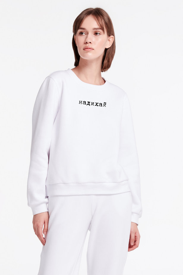White sweatshirt with print and cuffs photo 1 - MustHave online store