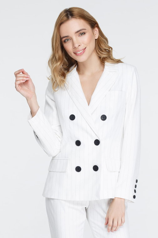 White jacket with black stripes and pockets