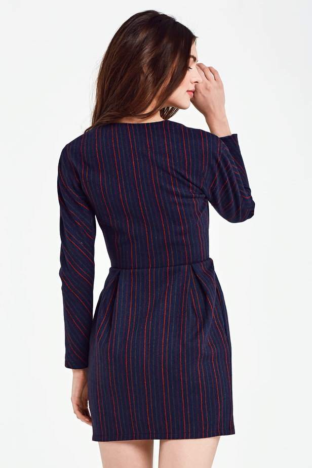 Blue dress with a wrap top and red stripes photo 3 - MustHave online store