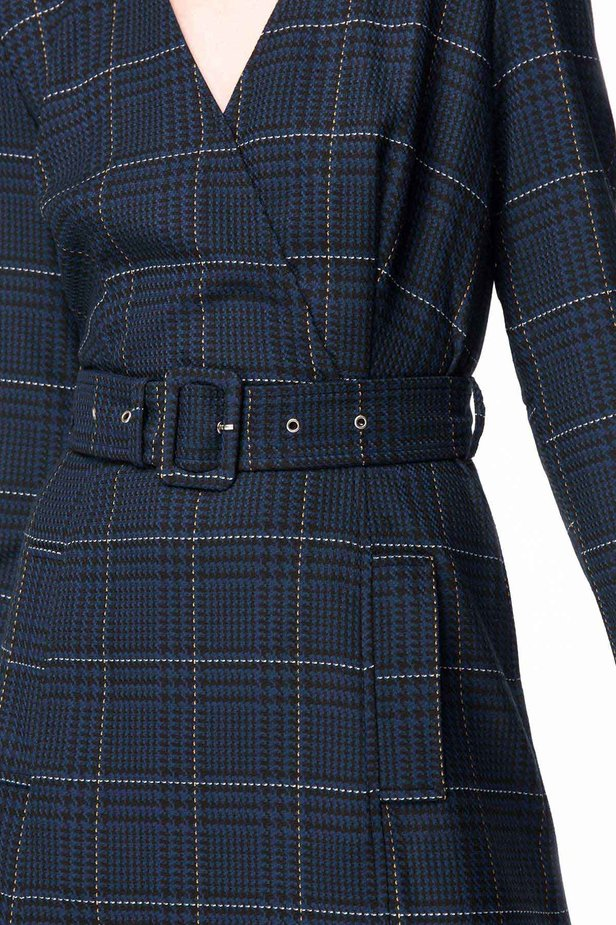 Dark-blue check dress with a waist photo 6 - MustHave online store