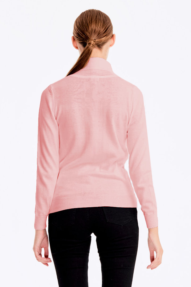 Powder pink polo neck with cotton photo 5 - MustHave online store
