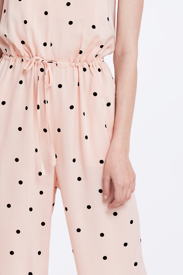 Beige jumpsuit with a black polka dot print photo 2 - MustHave online store