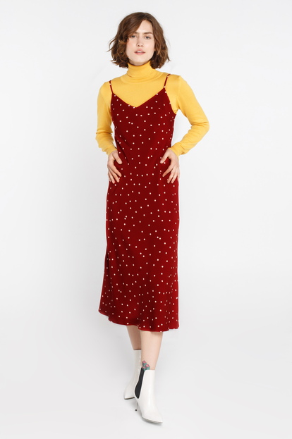 Wine polka dot midi sundress with viscose