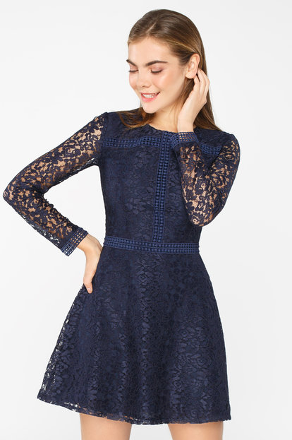 Blue lace mini dress with long sleeves
