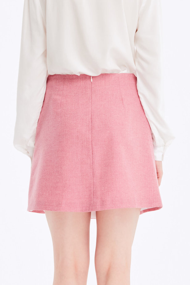Mini skirt with pink herringbone print photo 4 - MustHave online store