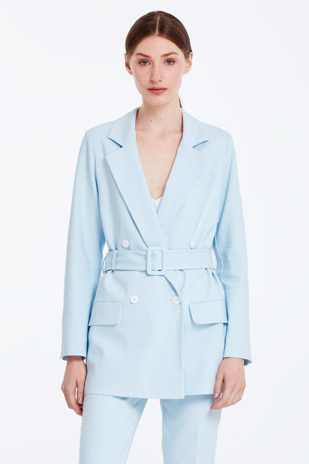 Double-breasted blue jacket with a belt photo 1 - MustHave online store