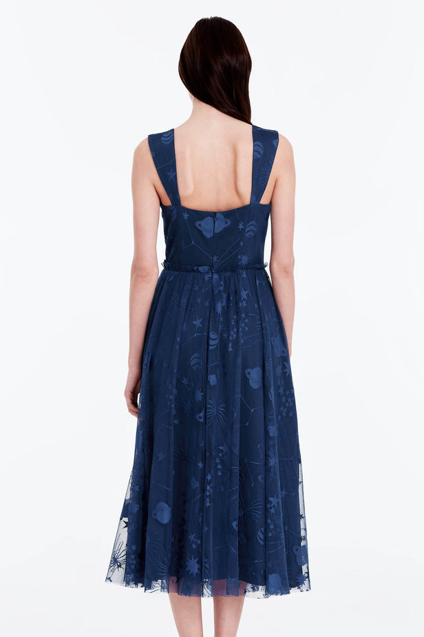 Blue dress with a space pattern photo 4 - MustHave online store