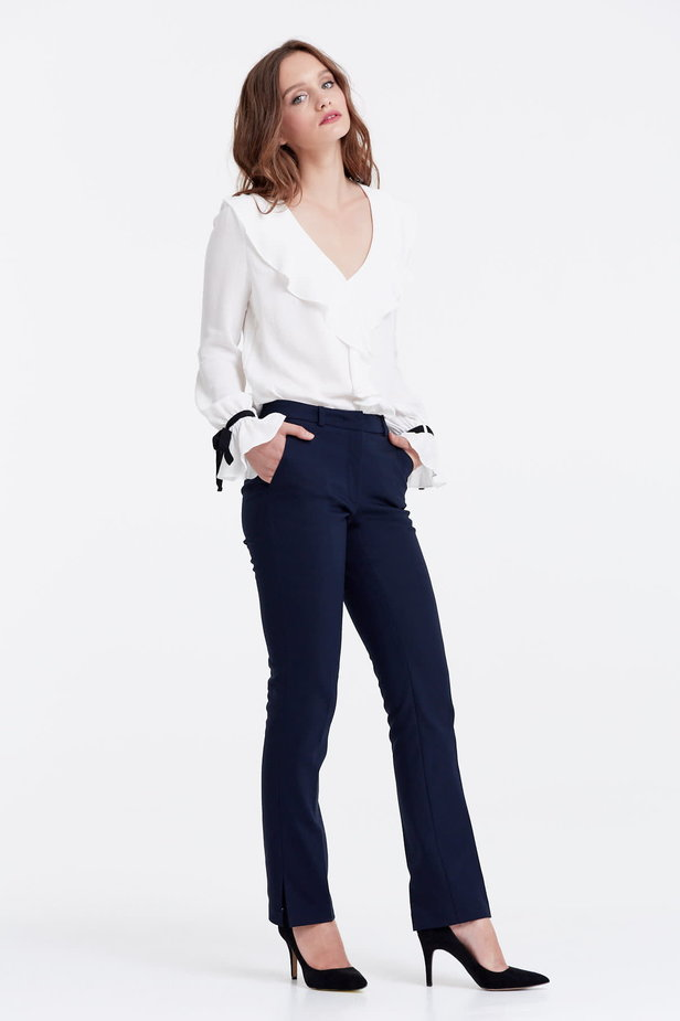 Dark blue trousers with slits photo 5 - MustHave online store