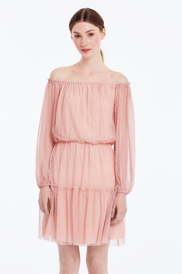 Off-shoulder powder pink lace dress photo 1 - MustHave online store