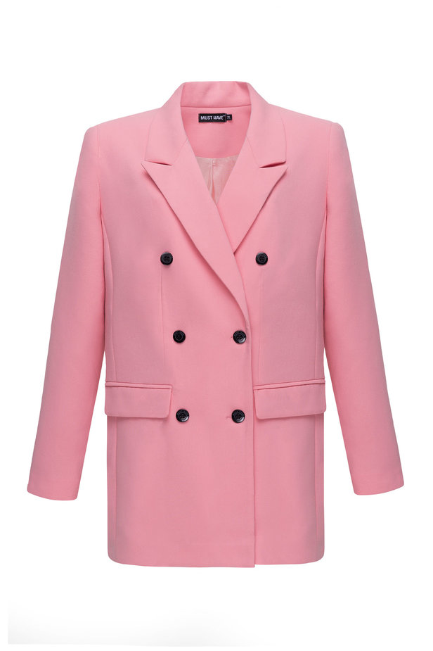 Double-breasted pink jacket with pockets photo 7 - MustHave online store
