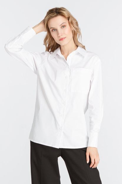 White loose shirt with a chest pocket