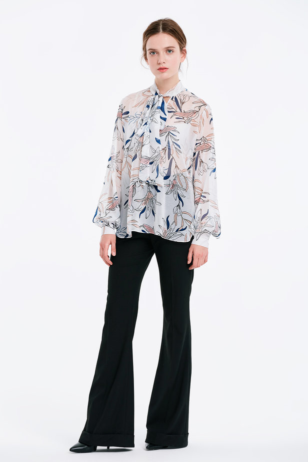 White blouse with a bow, birds print photo 4 - MustHave online store