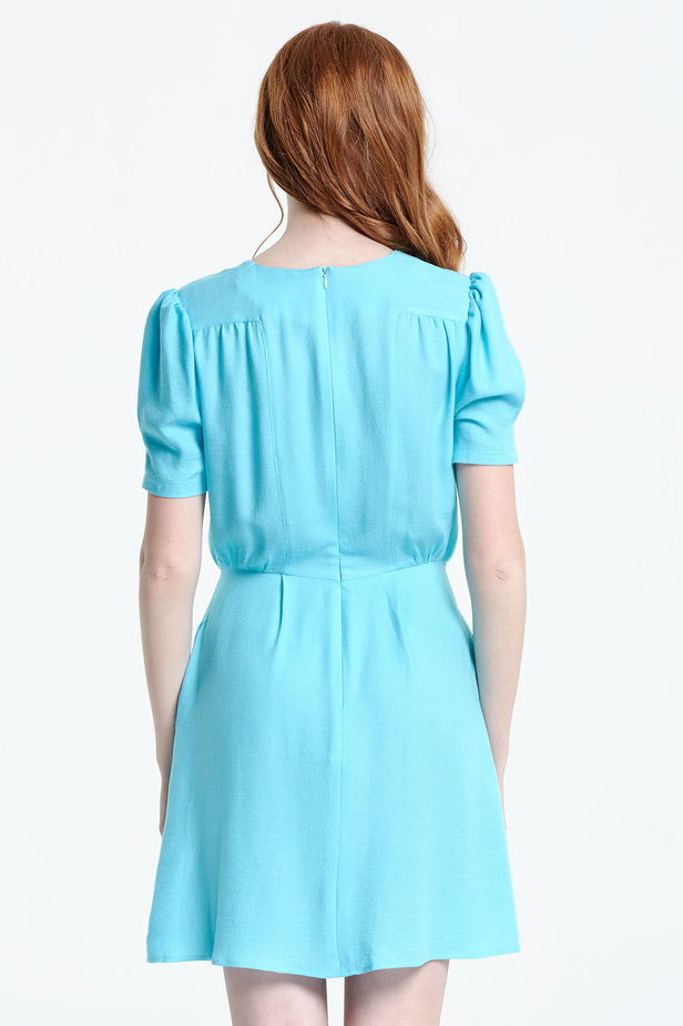Blue shirt dress with balloon sleeves photo 4 - MustHave online store