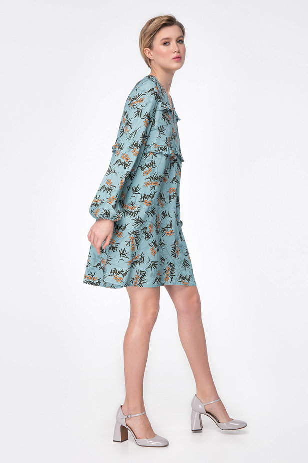 Blue dress with berry print photo 4 - MustHave online store