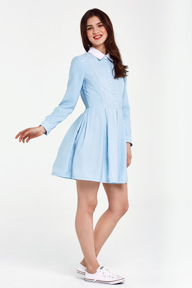 Blue dress with a white collar and piping photo 5 - MustHave online store