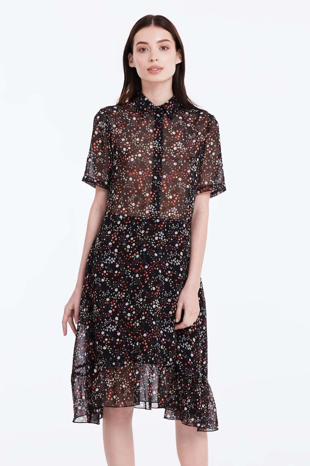 Black dress with a floral print, a shirt top and a flounce photo 1 - MustHave online store