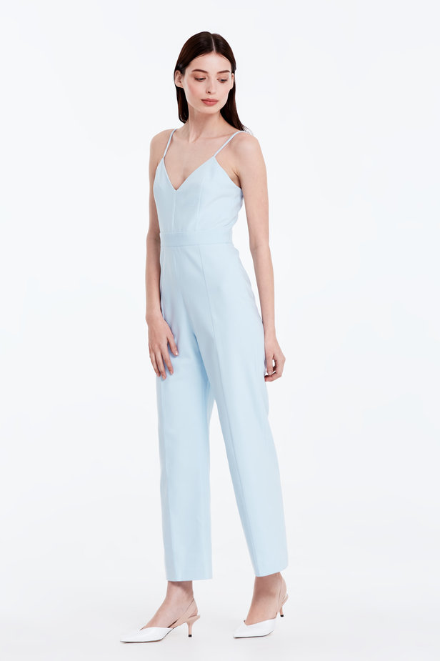 Blue jumpsuit with straps photo 2 - MustHave online store