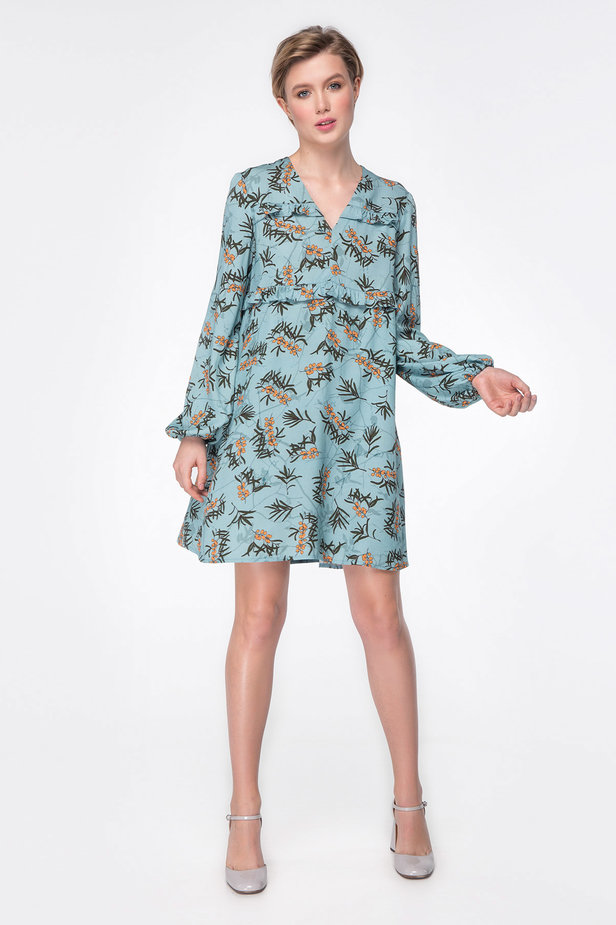 Blue dress with berry print photo 2 - MustHave online store