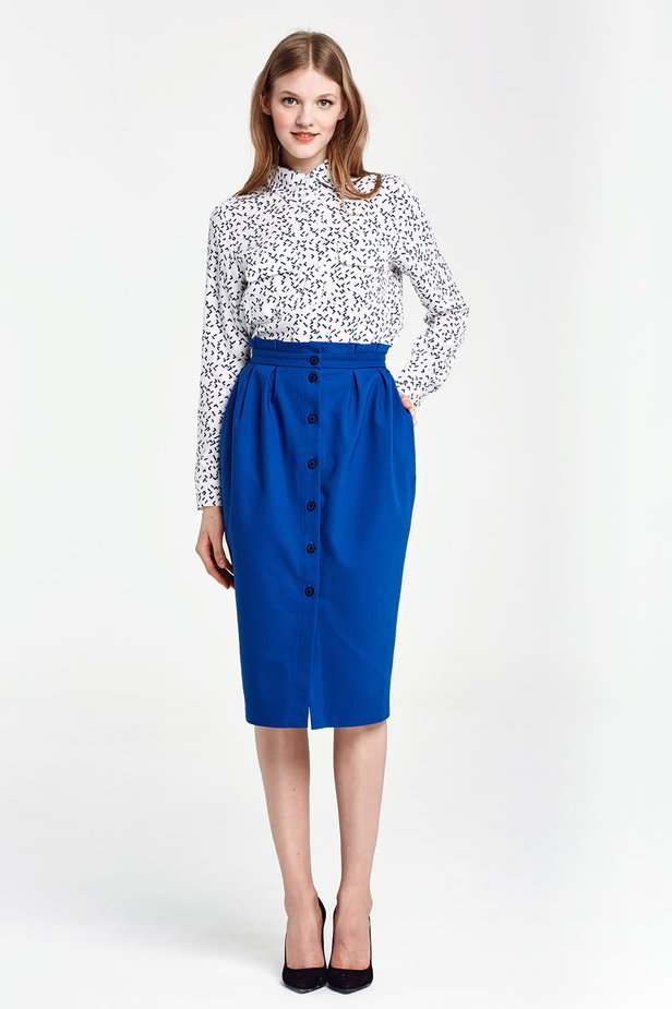 Blue skirt with buttons and ruffled belt photo 5 - MustHave online store
