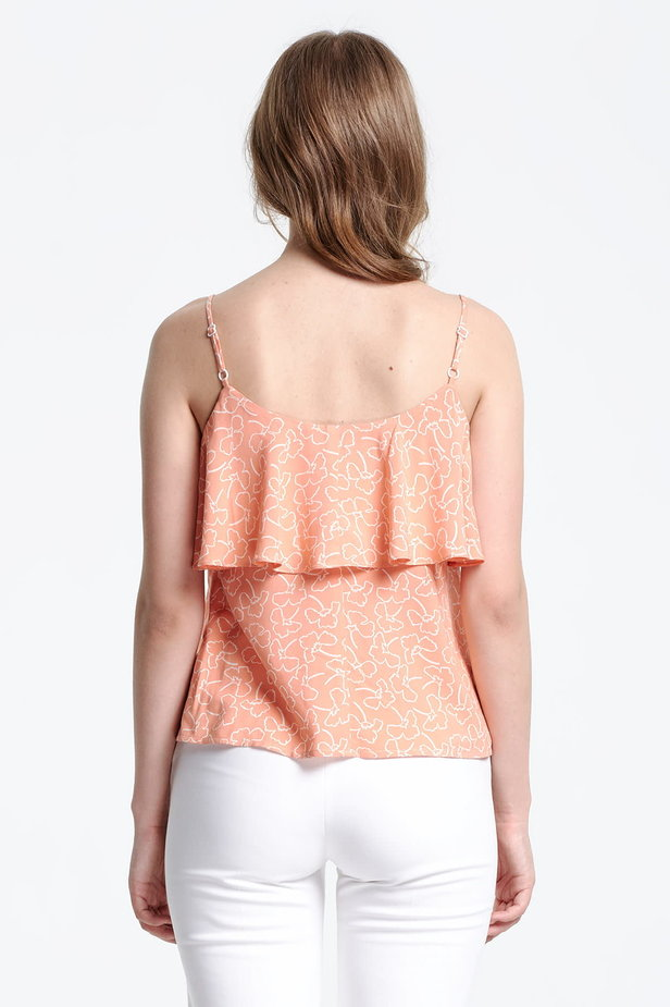 Peach-colored top with a flounce and white flowers photo 4 - MustHave online store