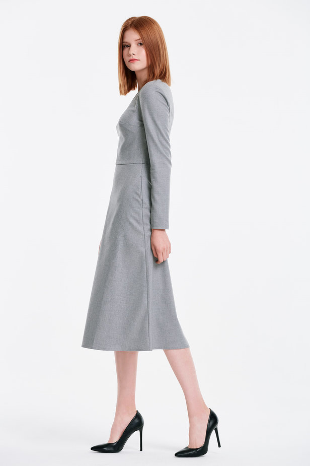 V-neck grey dress photo 3 - MustHave online store